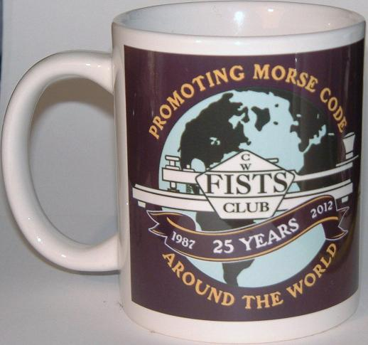 Photograph of a FISTS coffee/tea mug celebrating the club's 25th anniversary