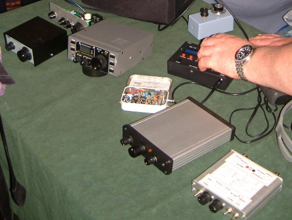 Close up photograph of Paul M0BMN's QRP (low power) CW transceivers at the NARSA Norbreck Rally in April 2010