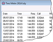 Snapshot of showing part of the FISTS Eu Two Metre Activity QSO list.