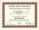 Small image of a Century Award certificate.  Click to visit the FISTS Awards web page.