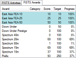 Snapshot of the main FISTS Log Converter window showing part of the Awards tab.