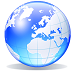 Small clipart image of world globe centred on Europe.