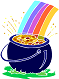 Drawing of a rainbow and pot of gold.