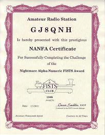 Image of Nightmare Alpha-Numeric Award certificate
