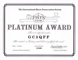 Image of Platinum Award certificate