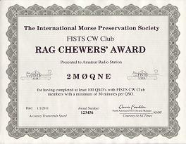 Image of Rag Chewers Award certificate
