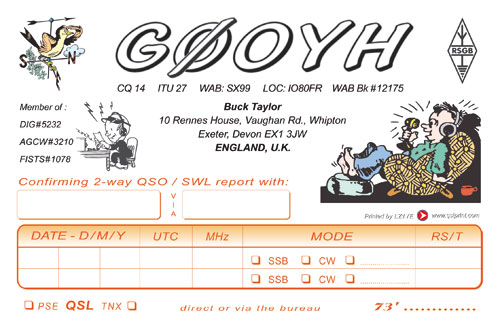 Image of Buck G0OYH's QSL card.