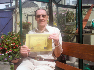 "Photograph of Fred G3VVP with his ""MRM"" (Most Readable Morse) Certificate gained in the 2008 EUCW QRS Party."
