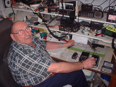 Photograph of Tony G8XGQ in his shack.
