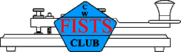 FISTS logo containing 'CW FISTS CLUB' in blue pentagon over an outline drawing of a straight key.